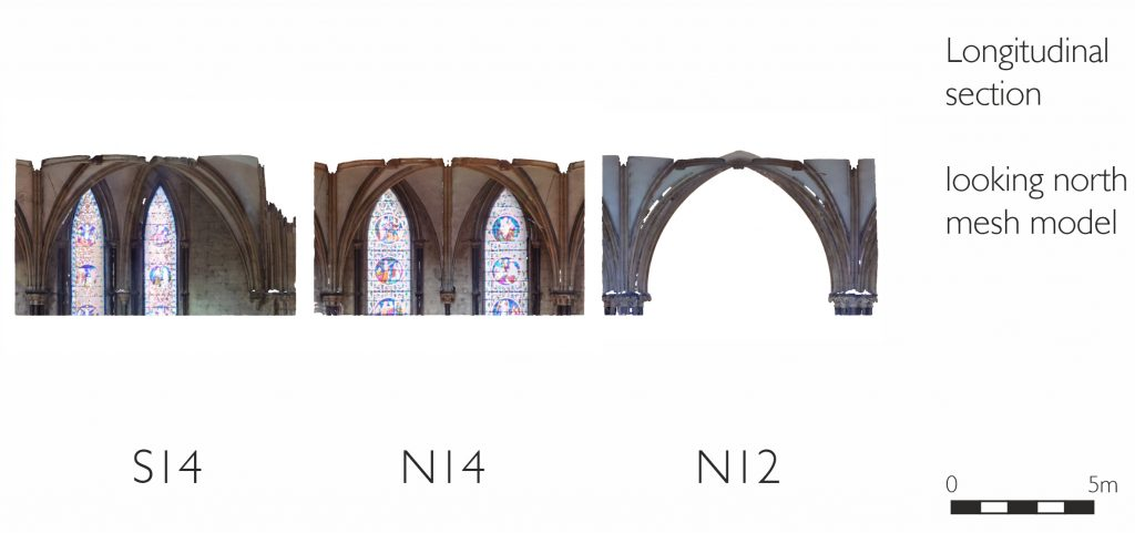 Longitudinal section of mesh model of nave aisles at Lincoln Cathedral