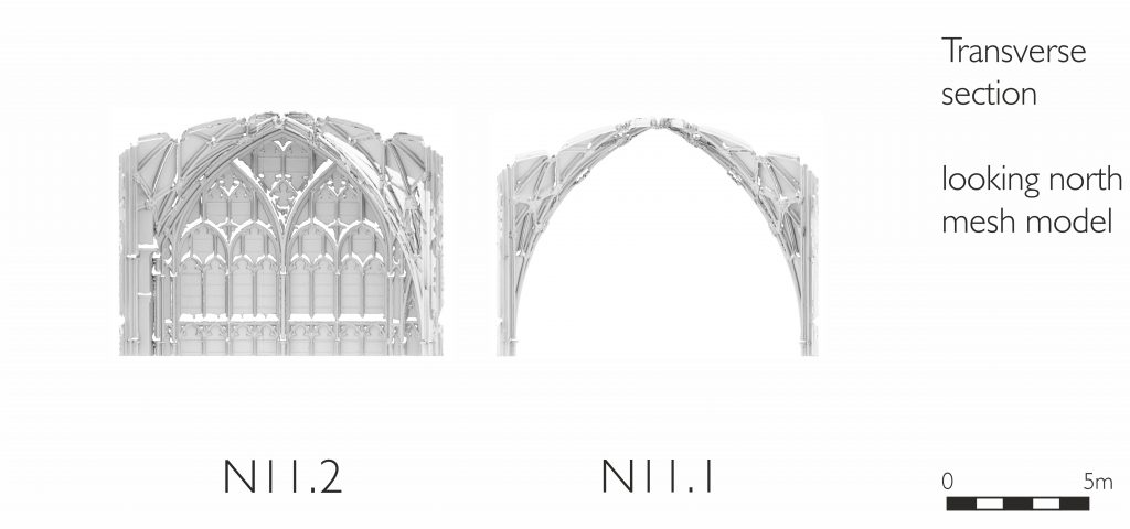 Transverse section of mesh model of north transept at Gloucester Cathedral