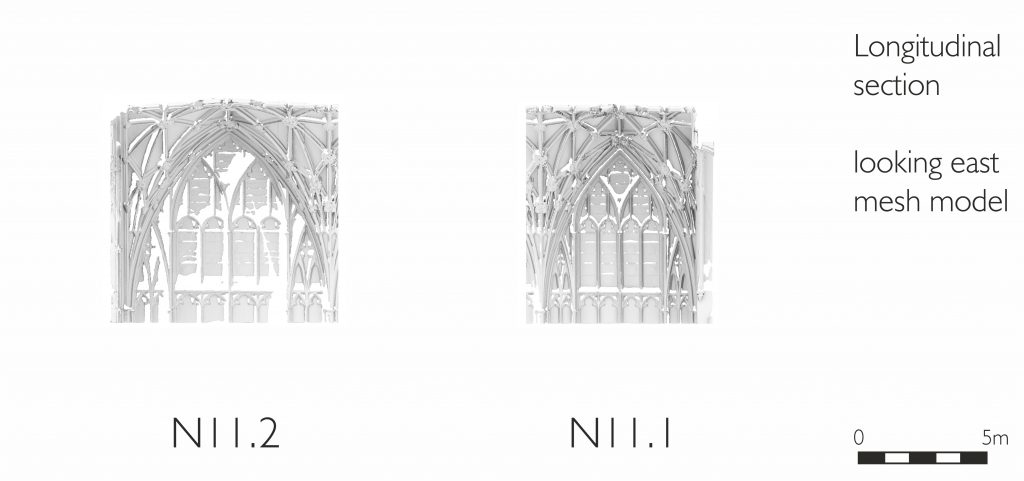 Longitudinal section of mesh model of north transept at Gloucester Cathedral