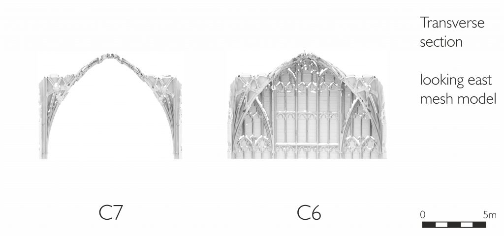 Transverse section of mesh model of presbytery at Gloucester Cathedral