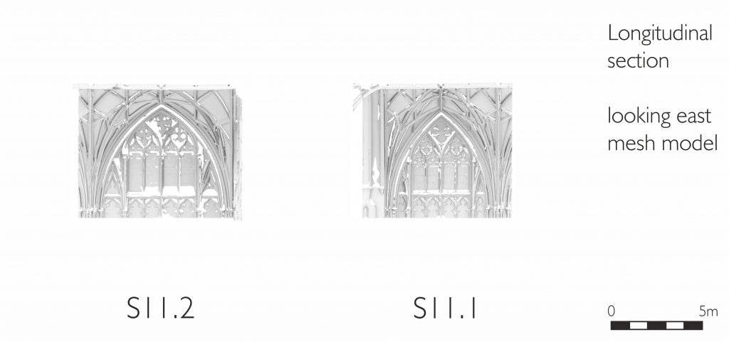 Longitudinal section of mesh model of south transept at Gloucester Cathedral