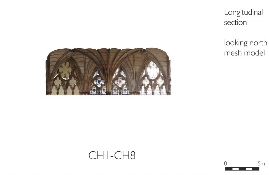 Longitudinal section of mesh model of chapter house at Westminster Abbey