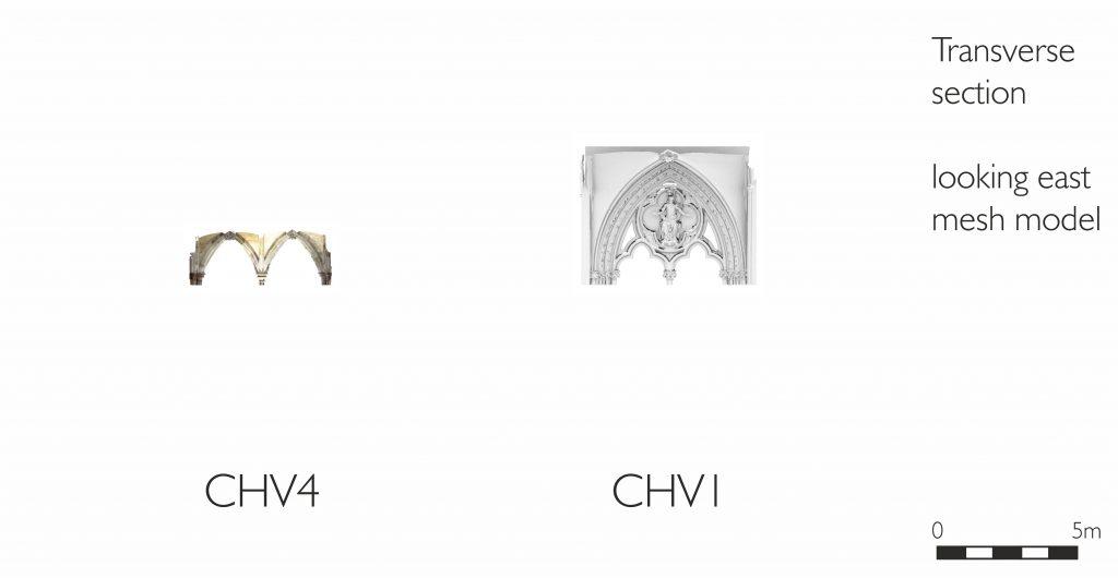 Longitudinal section of mesh model of chapter house vestibule at Westminster Abbey