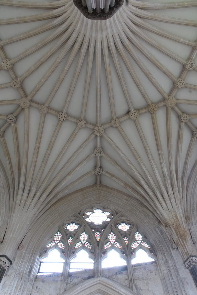 Image of the vault at Wells Cathedral Chapter House, looking up