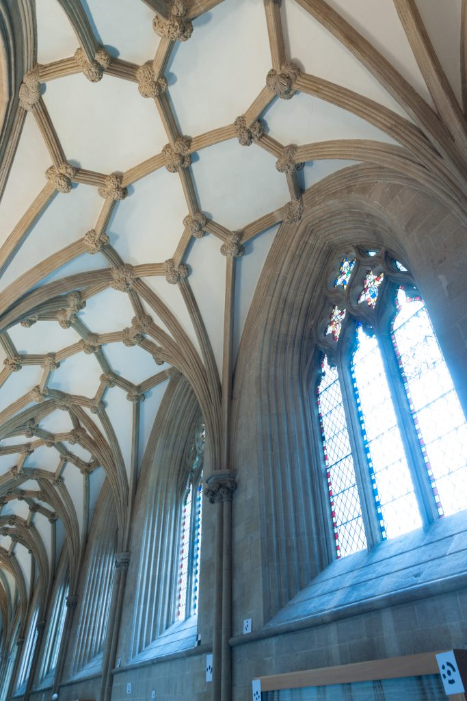 Image of south choir aisle at Wells Cathedral, looking southeast