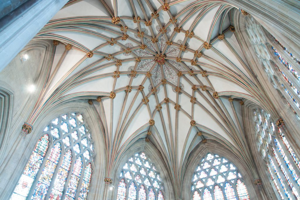 Image of vault in Lady Chapel at Wells Cathedral, looking northeast