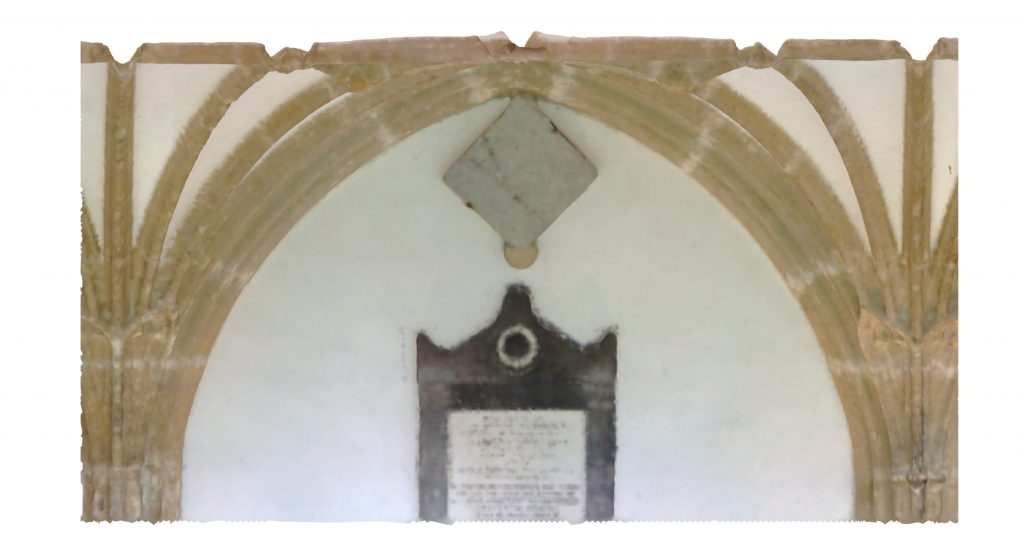 Longitudinal section of mesh model of Wells Cathedral Cloister, looking east
