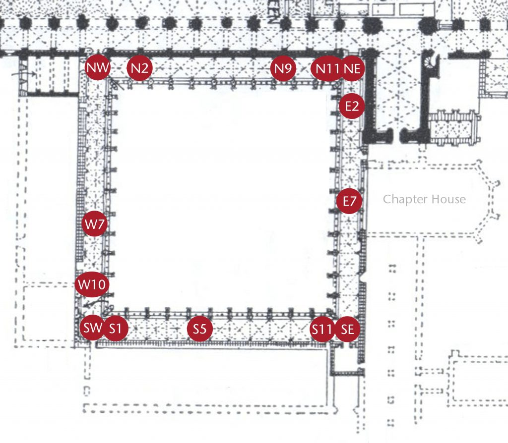 Plan of cloister at Norwich Cathedral showing locations of sample bays