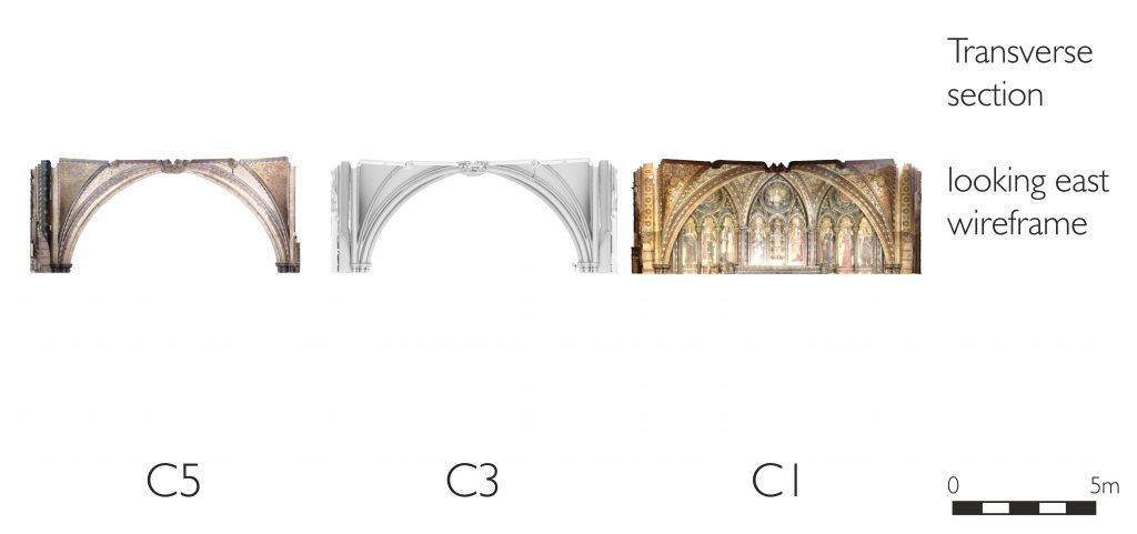 Transverse section of mesh model of Chapel of St Mary Undercroft at the Palace of Westminster