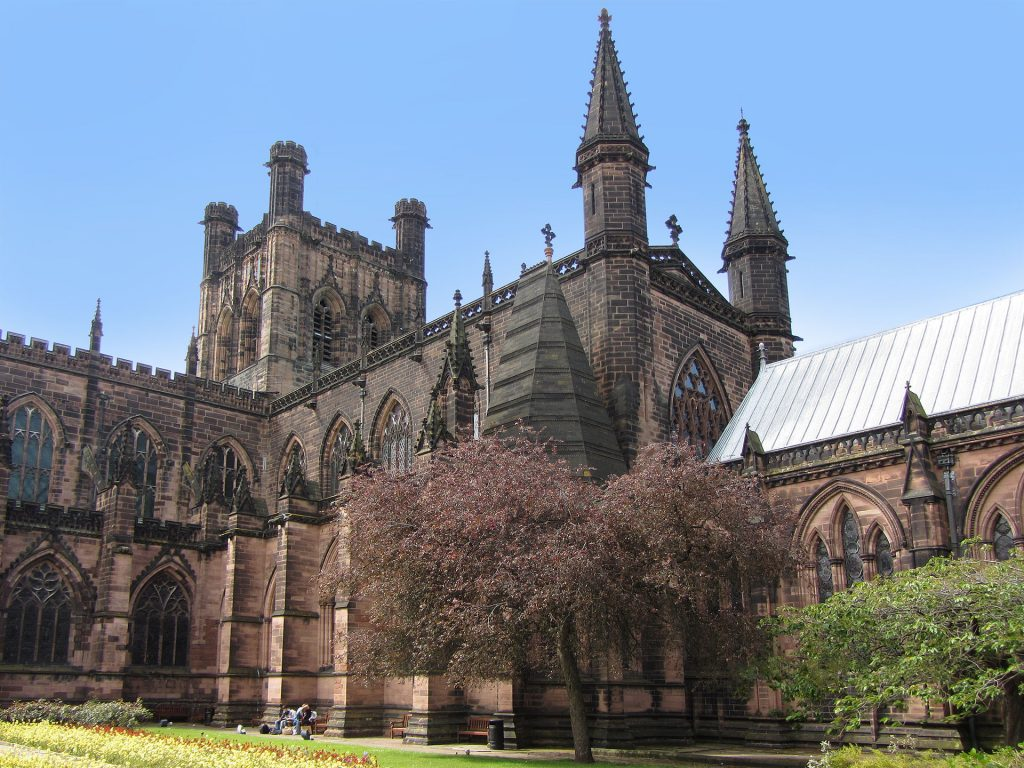 Image of the exterior of Chester Cathedral, east end, looking northwest, photograph by Stephen Hamilton (Wikimedia Commons, CC-BY-SA-3.0-migrated licence)