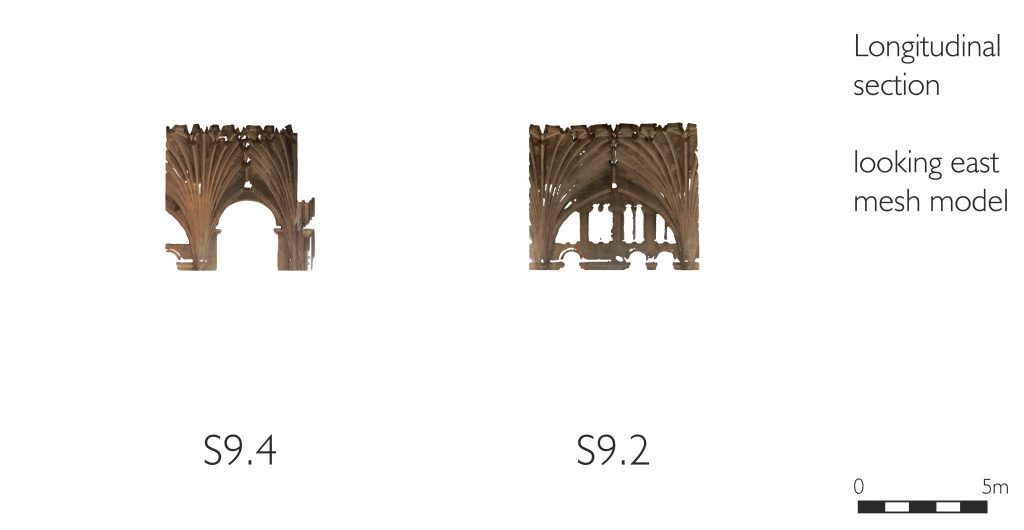 Longitudinal section of mesh model of transept at Norwich Cathedral