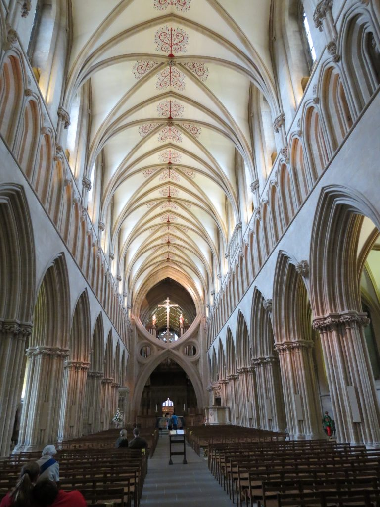 Image of nave at Wells Cathedral, looking east