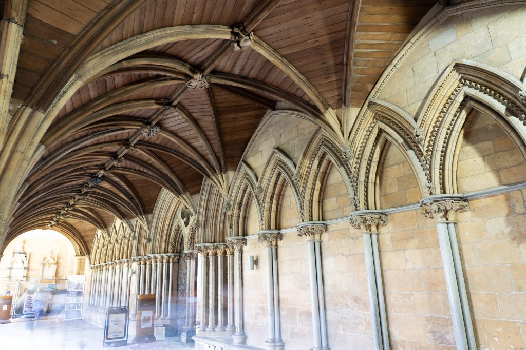 Image of wooden vault in the east walk of the cloister at Lincoln Cathedral