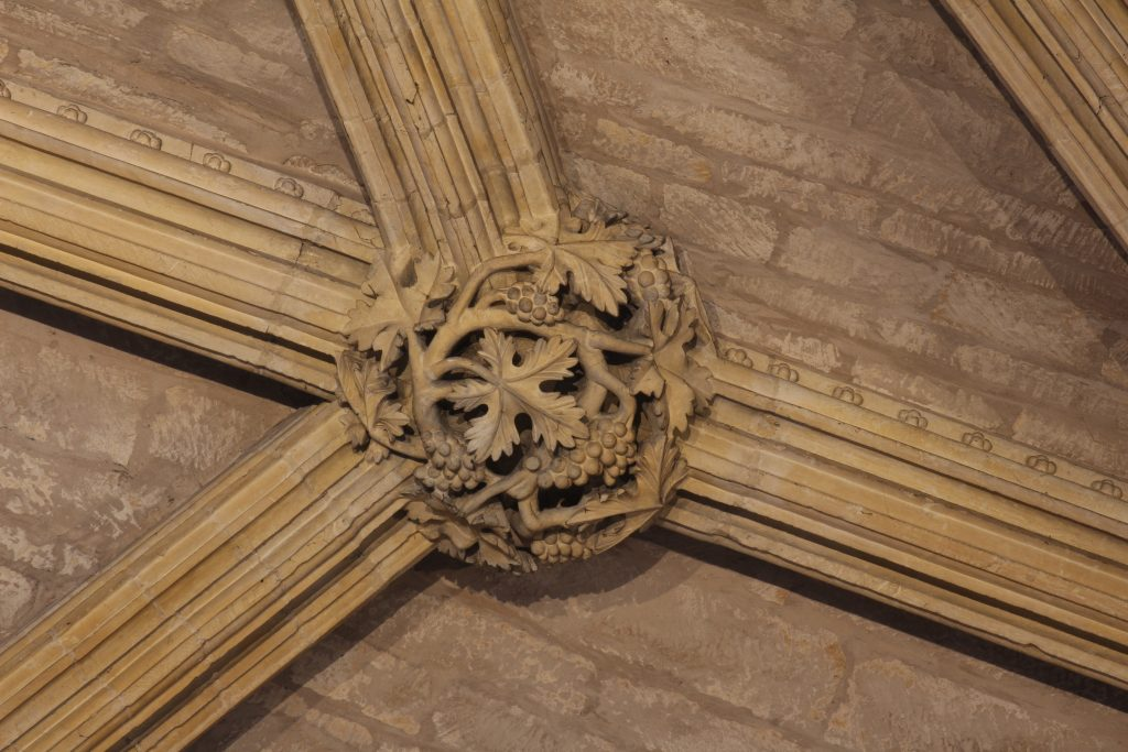 Image of rib mouldings in the Angel Choir aisle at Lincoln Cathedral