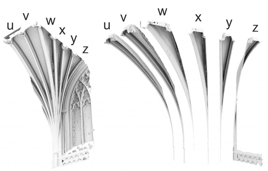 Image of quarter mesh model of the choir vault at Exeter Cathedral (left) with exploded view showing ploughsharing in the web adjacent to the clerestorey window (right)