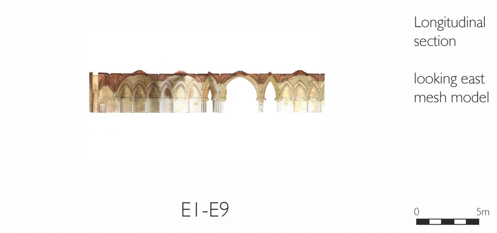 Longitudinal section of mesh model of Chapter House vestibule at Lincoln Cathedral