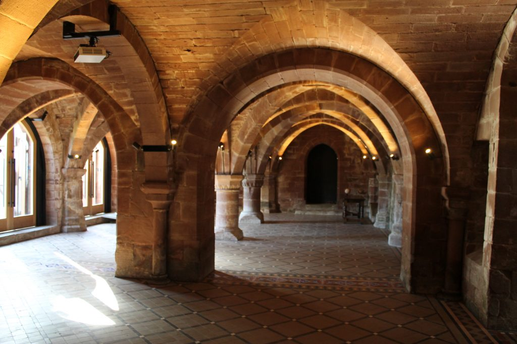 Image of the reconstructed groin vaults at Norton Priory