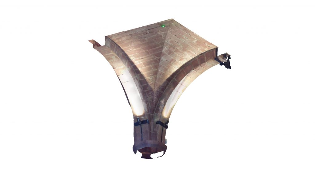 Image of quarter section of mesh model of modern groin vault in the West Range at Norton Priory