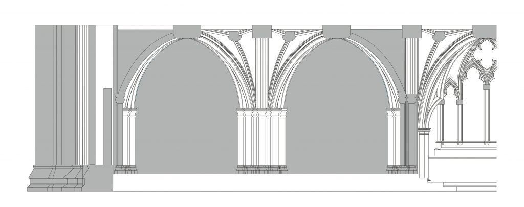 Longitudinal section of east end of lower chapel of St Stephen's Chapel, Westminster